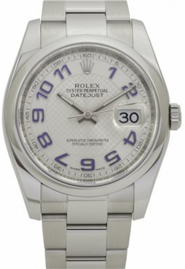 Rolex 116200 Steel on Oyster, Smooth Bezel Steel with Blue Luminous Arabic