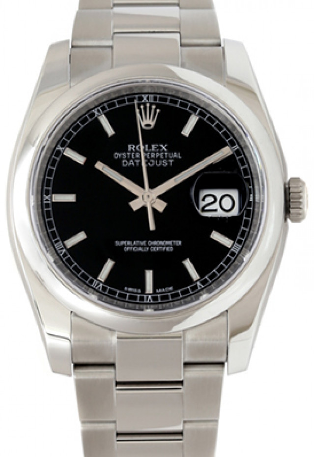Rolex 116200 Steel on Oyster, Smooth Bezel Black with Luminous Silver Index