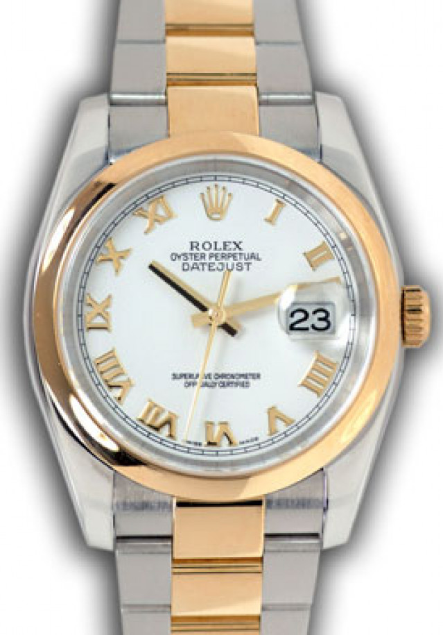 Rolex 116203 Yellow Gold & Steel on Oyster, Smooth Bezel White with Gold Roman