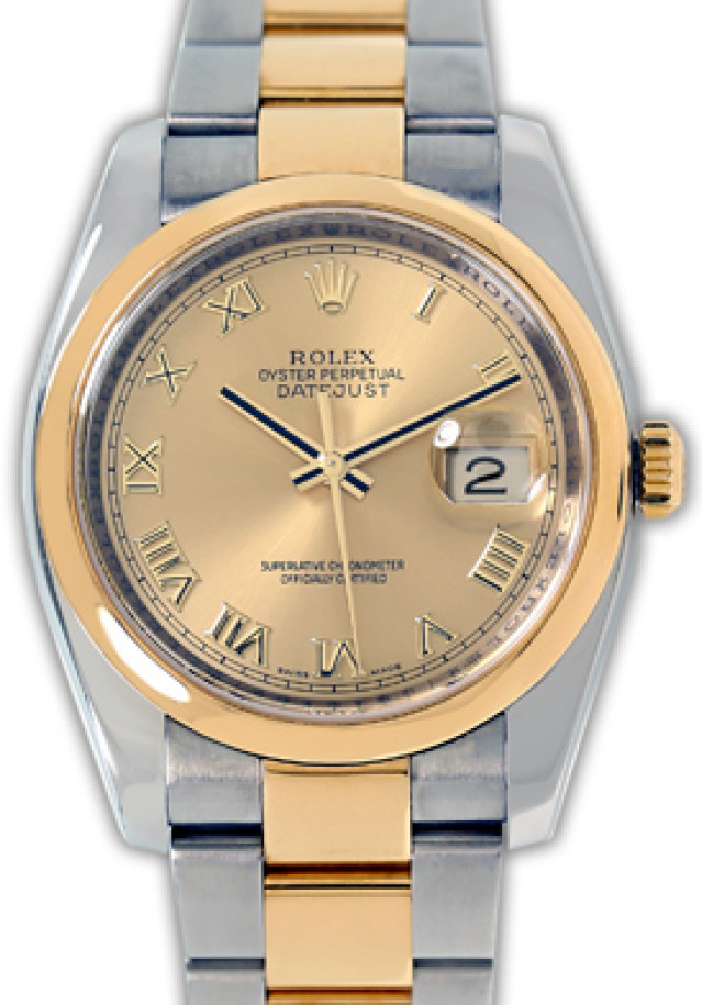 Rolex 116203 Yellow Gold & Steel on Oyster, Smooth Bezel Champagne with Gold Roman