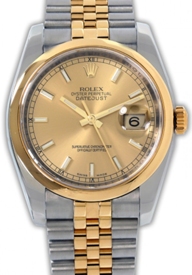 Rolex 116203 Yellow Gold & Steel on Jubilee, Smooth Bezel Champagne with Gold Index