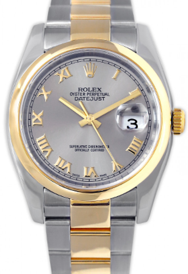 Rolex 116203 Yellow Gold & Steel on Oyster, Smooth Bezel Dark Grey with Gold Roman