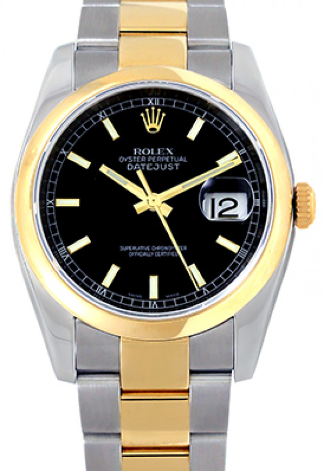 Rolex 116203 Yellow Gold & Steel on Oyster, Smooth Bezel Black with Gold Index
