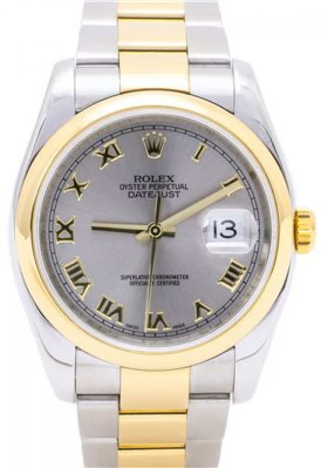 Rolex 116203 Yellow Gold & Steel on Oyster, Smooth Bezel Gray Slate with Gold Roman