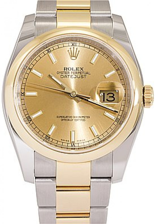 Rolex 116203 Yellow Gold & Steel on Oyster, Smooth Bezel Champagne with Luminous Gold Index