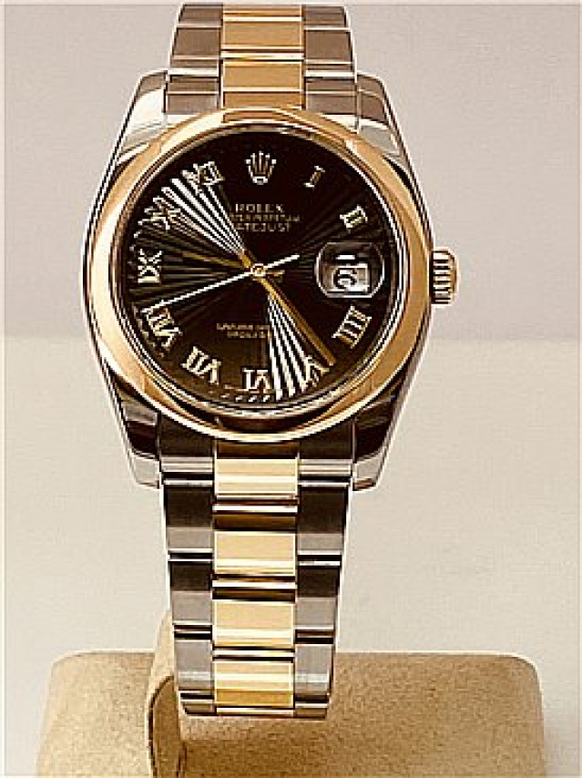 Rolex 116203 Yellow Gold & Steel on Oyster, Smooth Bezel Black Sunbeam with Gold Roman