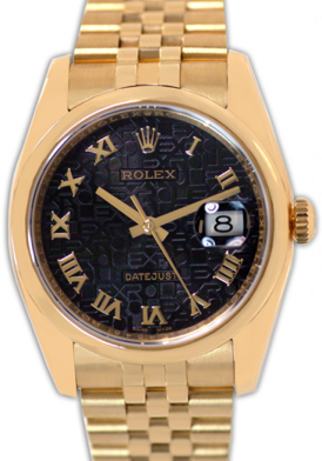 Rolex 116208 Yellow Gold on Jubilee, Smooth Bezel Black Jubilee with Gold Roman