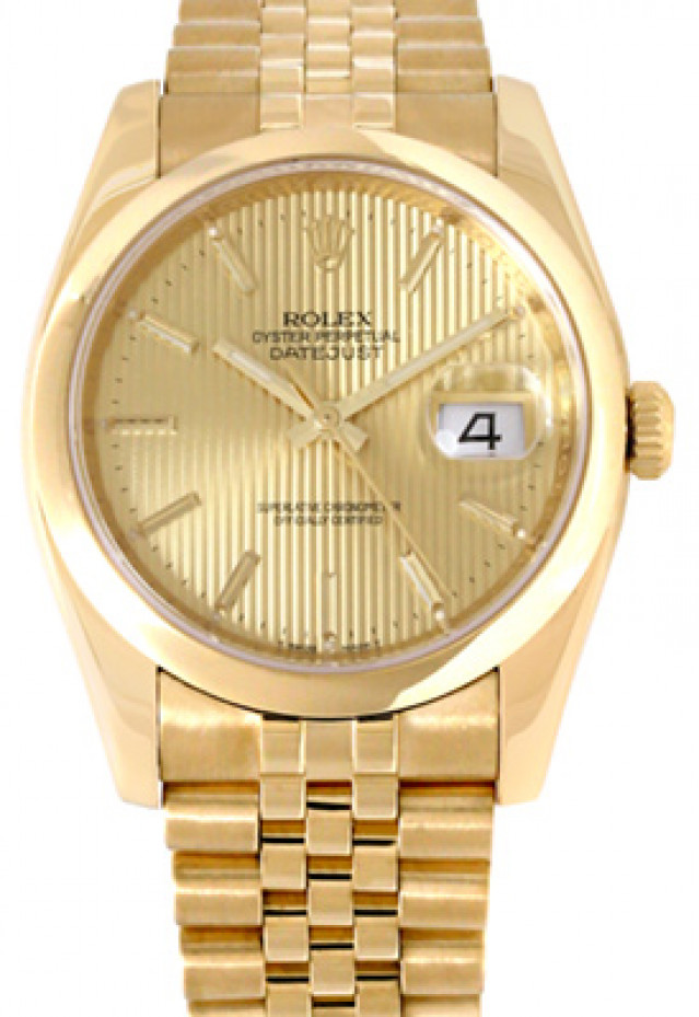 Rolex 116208 Yellow Gold on Jubilee, Smooth Bezel Champagne Tapestry with Gold Index