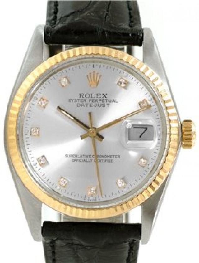 Rolex 16013 Yellow Gold & Steel on Strap, Fluted Bezel Steel Diamond Dial