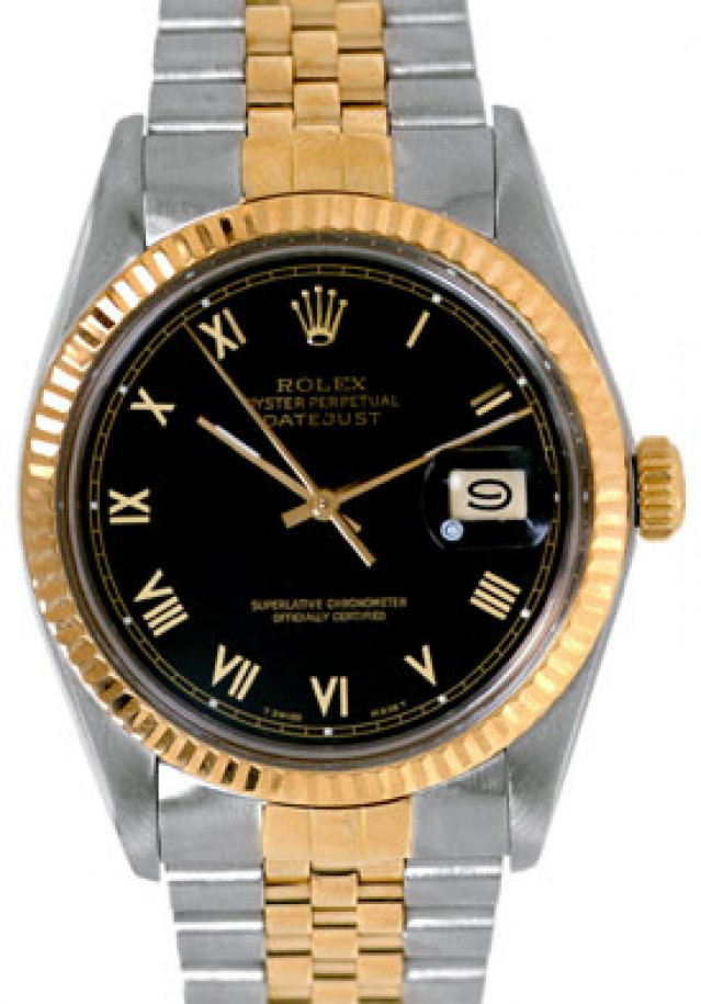 Rolex 16013 Yellow Gold & Steel on Jubilee, Fluted Bezel Black with Gold Roman