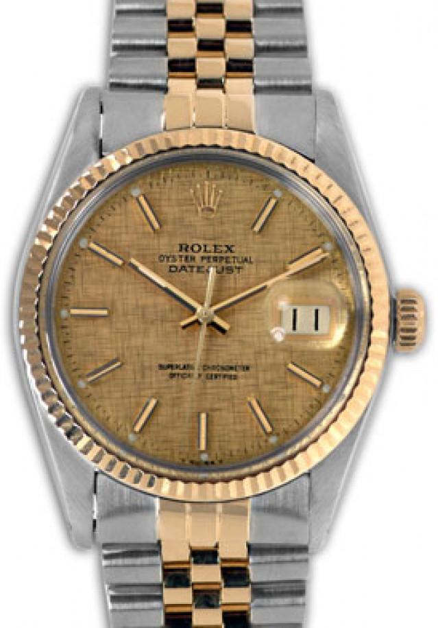 Rolex 16013 Yellow Gold & Steel on Jubilee, Fluted Bezel Champagne Texture with Gold Index