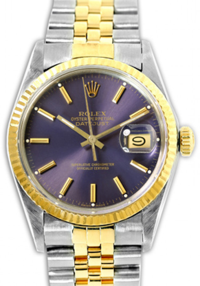 Rolex 16013 Yellow Gold & Steel on Jubilee, Fluted Bezel Purple with Gold Index