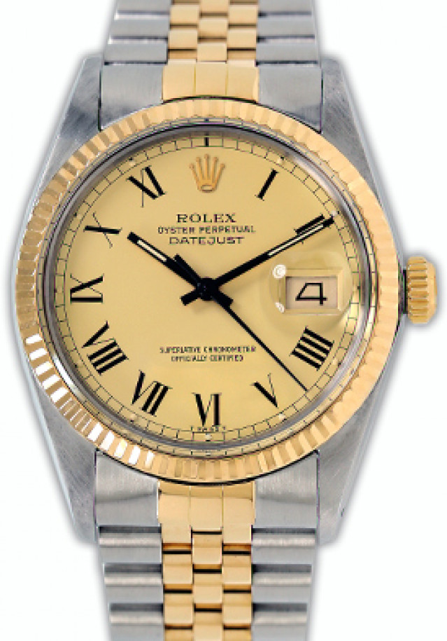 Rolex 16013 Yellow Gold & Steel on Jubilee, Fluted Bezel Champagne with Black Roman
