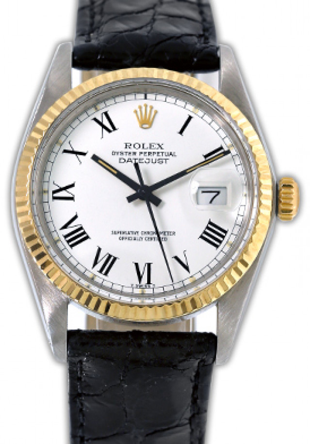 Rolex 16013 Yellow Gold & Steel on Strap, Fluted Bezel White with Black Roman