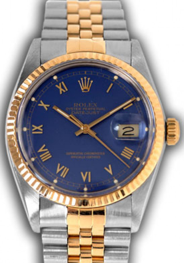 Rolex 16013 Yellow Gold & Steel on Jubilee, Fluted Bezel Blue with Gold Roman
