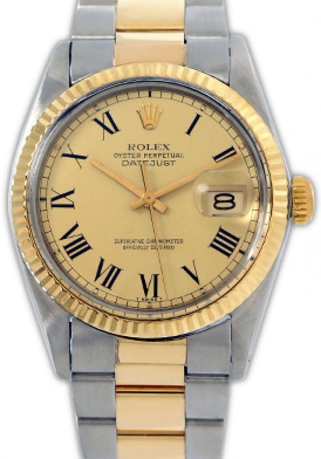 Rolex 16013 Yellow Gold & Steel on Oyster, Fluted Bezel Champagne with Black Roman