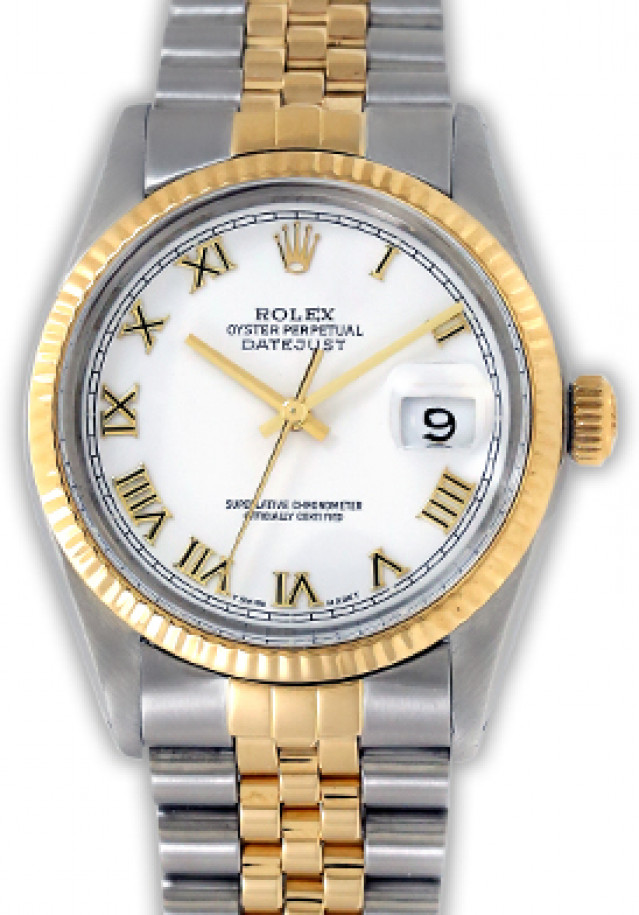Rolex 16013 Yellow Gold & Steel on Jubilee, Fluted Bezel White with Roman