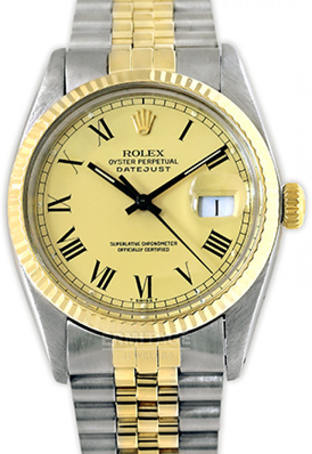 Rolex 16013 Yellow Gold & Steel on Oyster, Fluted Bezel Champagne with Gold Roman