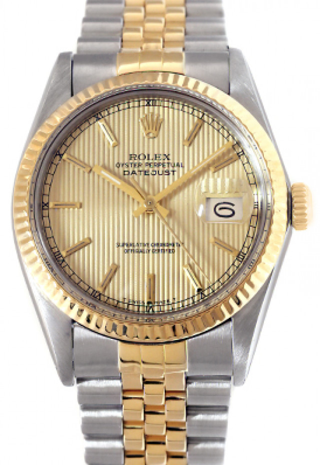 Rolex 16013 Yellow Gold & Steel on Jubilee, Fluted Bezel Champagne Tapestry with Gold Index