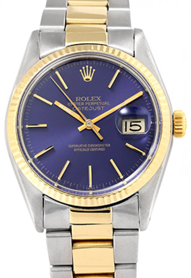 Rolex 16013 Yellow Gold & Steel on Oyster, Fluted Bezel Blue with Gold Index