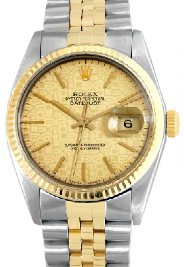 Rolex 16013 Yellow Gold & Steel on Jubilee, Fluted Bezel Champagne Jubilee with Gold Index
