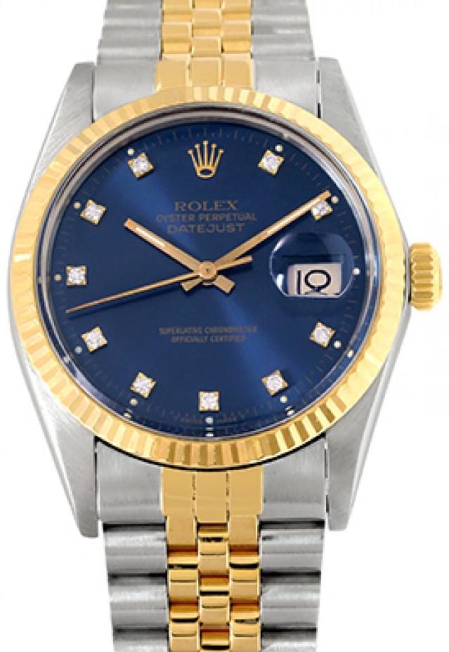 Rolex 16013 Yellow Gold & Steel on Jubilee, Fluted Bezel Blue Diamond Dial