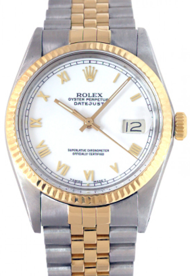 Rolex 16013 Yellow Gold & Steel on Jubilee, Fluted Bezel White with Gold Arabic