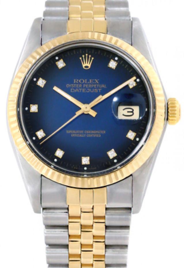 Rolex 16013 Yellow Gold & Steel on Jubilee, Fluted Bezel Vignette Blue Diamond Dial