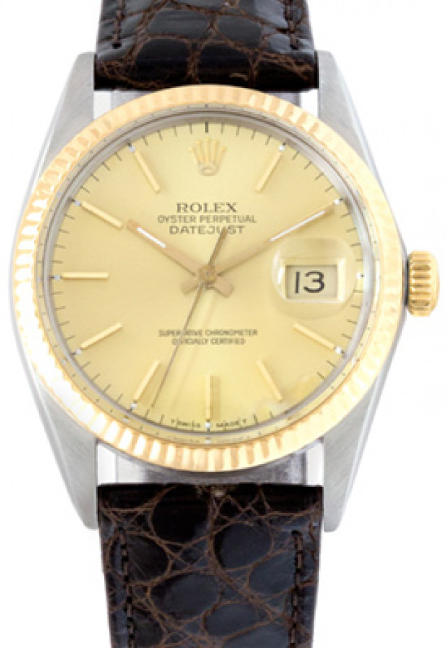 Rolex 16013 Yellow Gold & Steel on Strap, Fluted Bezel Champagne with Gold Index