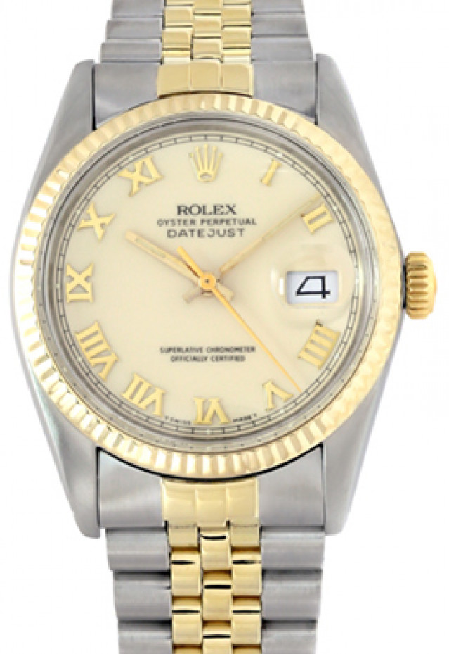 Rolex 16013 Yellow Gold & Steel on Jubilee, Fluted Bezel Ivory with Gold Roman