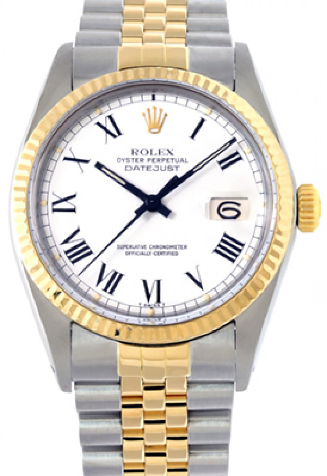 Rolex 16013 Yellow Gold & Steel on Jubilee, Fluted Bezel White with Black Roman