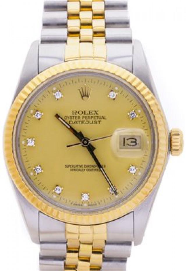 Rolex 16013 Yellow Gold & Steel on Jubilee, Fluted Bezel Champagne Diamond Dial