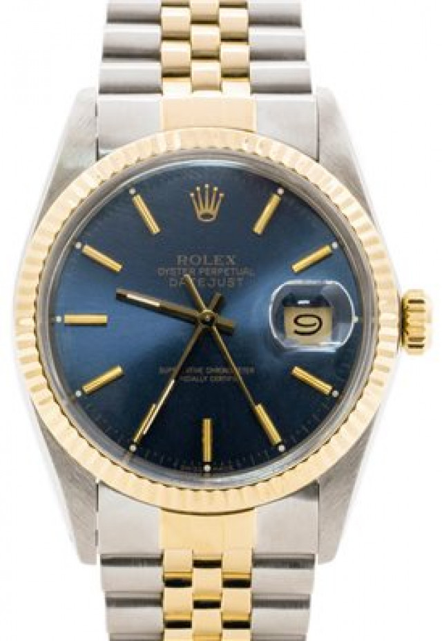 Rolex 16013 Yellow Gold & Steel on Jubilee, Fluted Bezel Blue with Gold Index