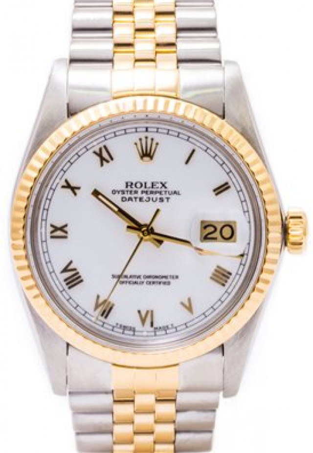 Rolex 16013 Yellow Gold & Steel on Jubilee, Fluted Bezel White with Gold Roman