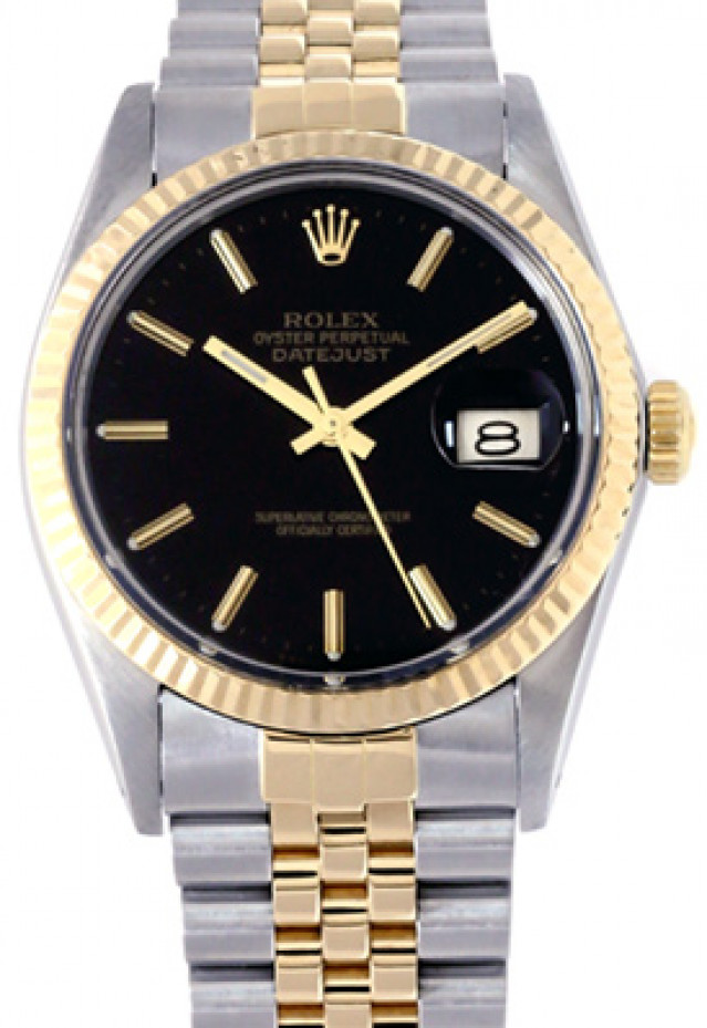 Rolex 16013 Yellow Gold & Steel on Jubilee, Fluted Bezel Black with Gold Index