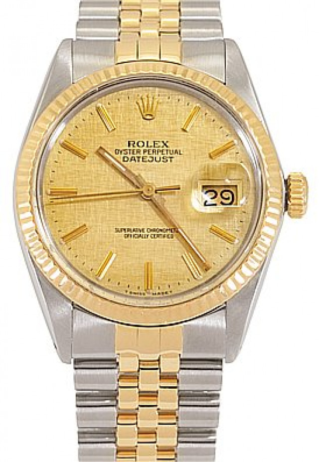 Rolex 16013 Yellow Gold & Steel on Jubilee, Fluted Bezel Champagne Linel with Gold Index