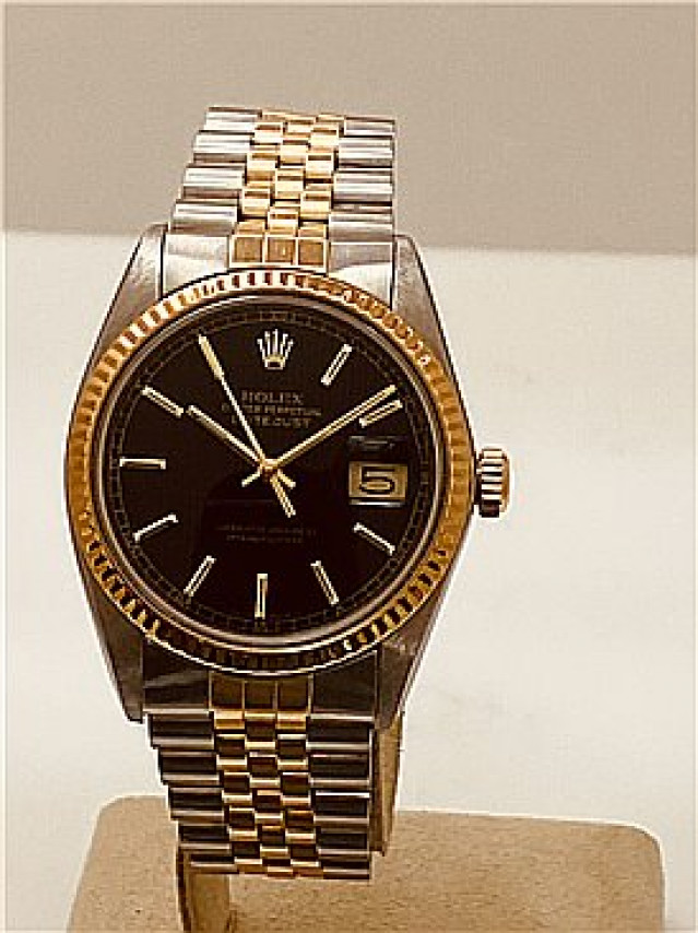 Rolex 16013 Yellow Gold & Steel on Jubilee, Fluted Bezel Black Tapestry with Gold Index
