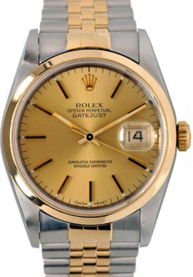 Rolex 16233 Yellow Gold & Steel on Jubilee, Smooth Bezel Champagne with Gold Index