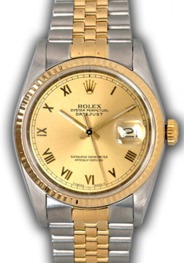 Rolex 16233 Yellow Gold & Steel on Oyster, Fluted Bezel Champagne with Gold Roman