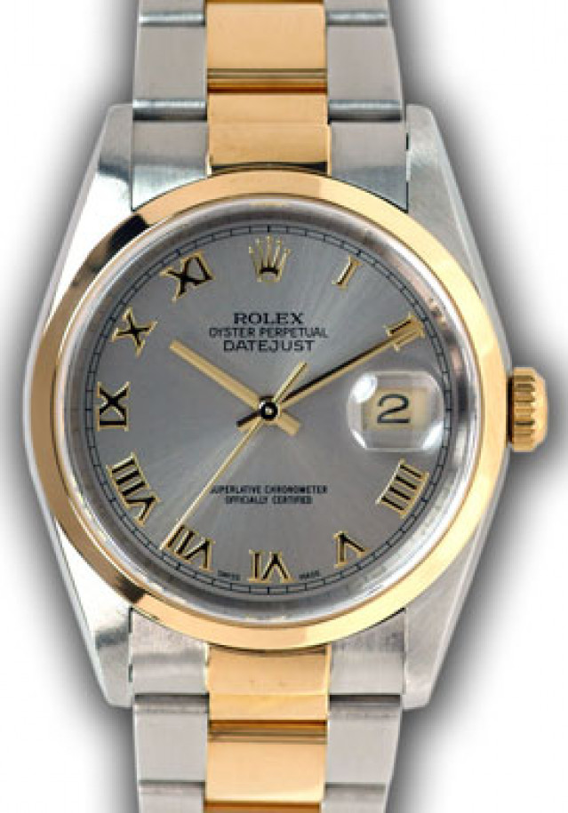 Rolex 16233 Yellow Gold & Steel on Oyster, Smooth Bezel Rhodium with Gold Roman