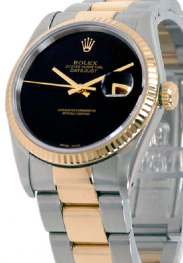 Rolex 16233 Yellow Gold & Steel on Oyster, Fluted Bezel Black with Rolex Gold Logo
