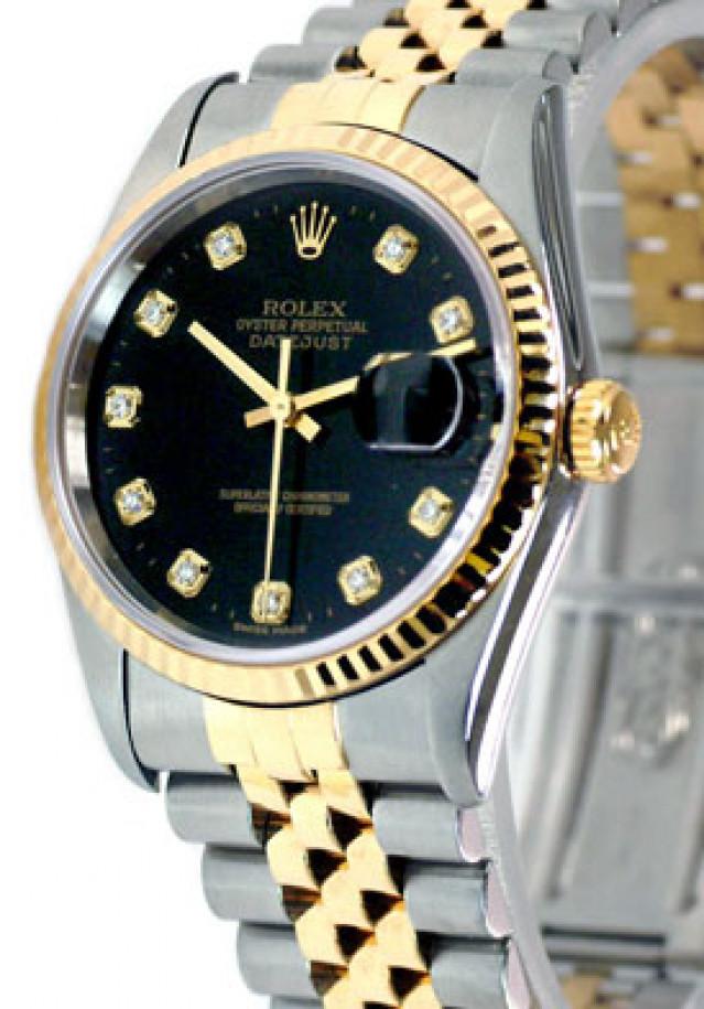 Rolex 16233 Yellow Gold & Steel on Jubilee, Fluted Bezel Black Diamond Dial