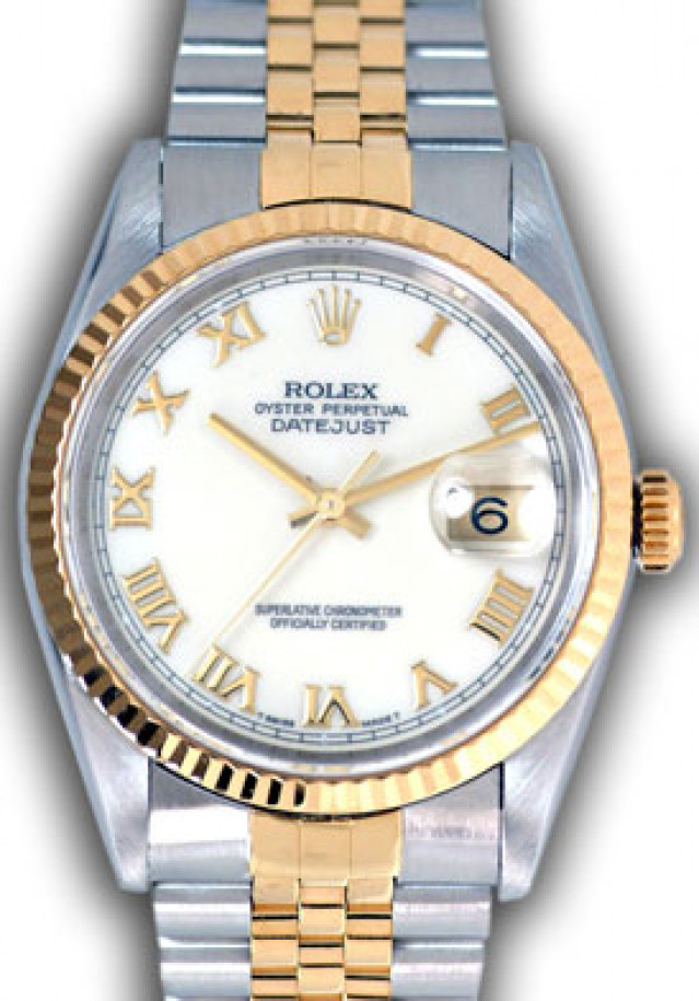 Rolex 16233 Yellow Gold & Steel on Jubilee, Fluted Bezel Ivory with Gold Index