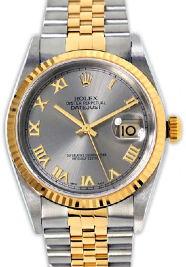 Rolex 16233 Yellow Gold & Steel on Jubilee, Fluted Bezel Dark Grey Slate with Gold Roman