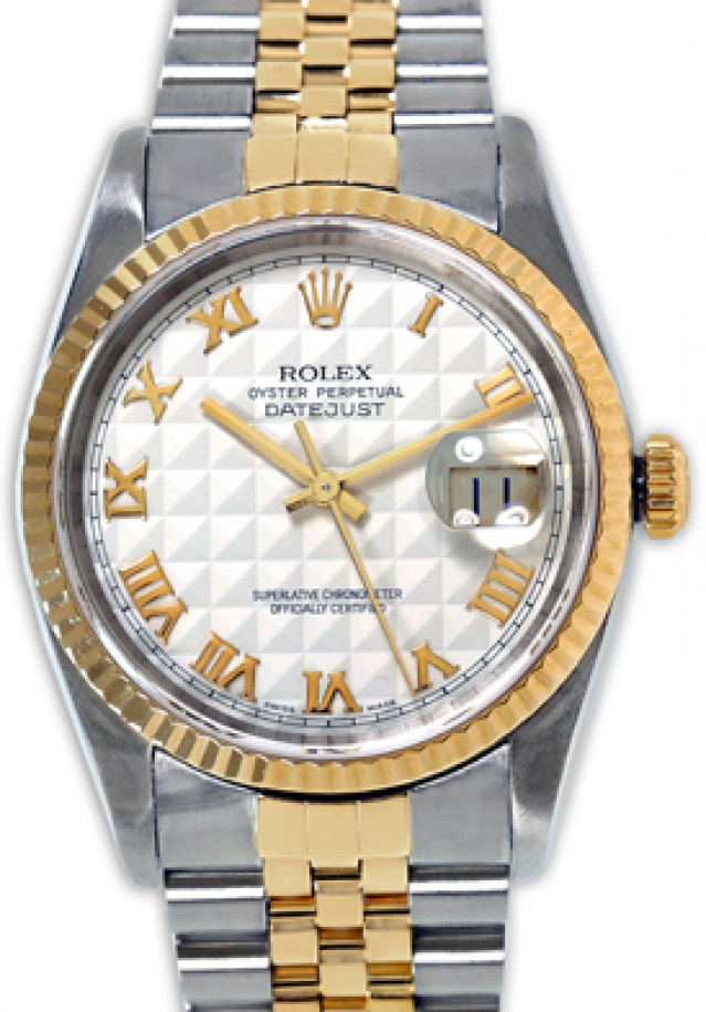 Rolex 16233 Yellow Gold & Steel on Jubilee, Fluted Bezel Steel Pyramid with Gold Arabic