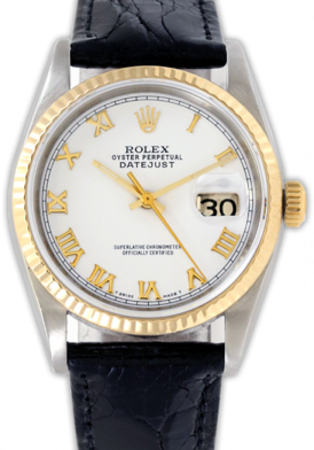 Rolex 16233 Yellow Gold & Steel on Strap, Fluted Bezel White with Gold Roman