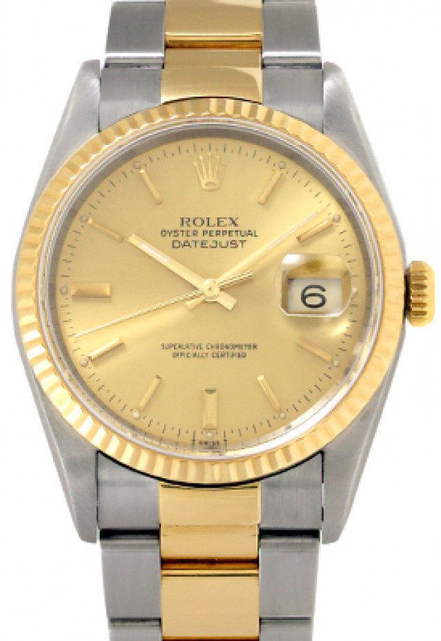 Rolex 16233 Yellow Gold & Steel on Strap, Fluted Bezel Champagne with Gold Index