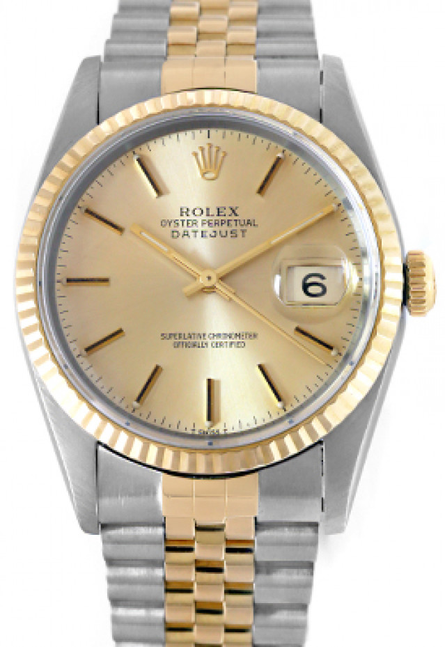Rolex 16233 Yellow Gold & Steel on Jubilee, Fluted Bezel Champagne with Black Index