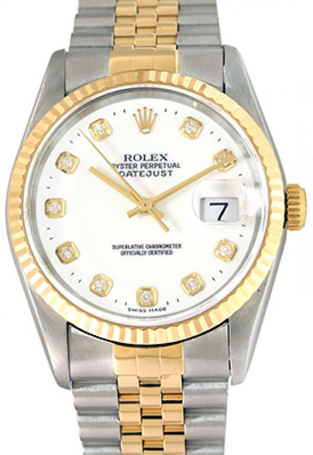 Rolex 16233 Yellow Gold & Steel on Jubilee, Fluted Bezel White Diamond Dial