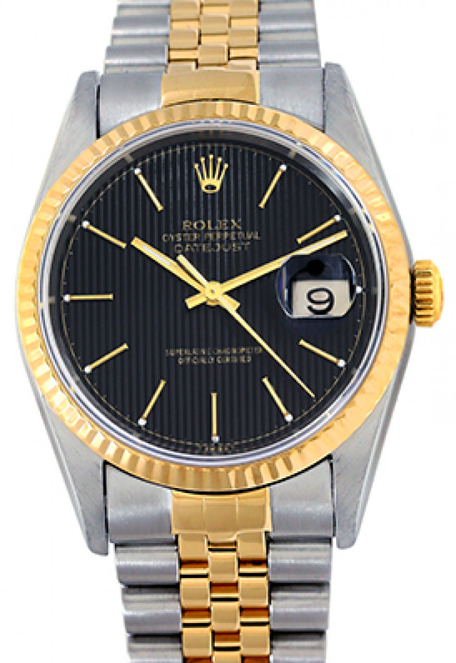 Rolex 16233 Yellow Gold & Steel on Jubilee, Fluted Bezel Black Tapestry with Gold Index